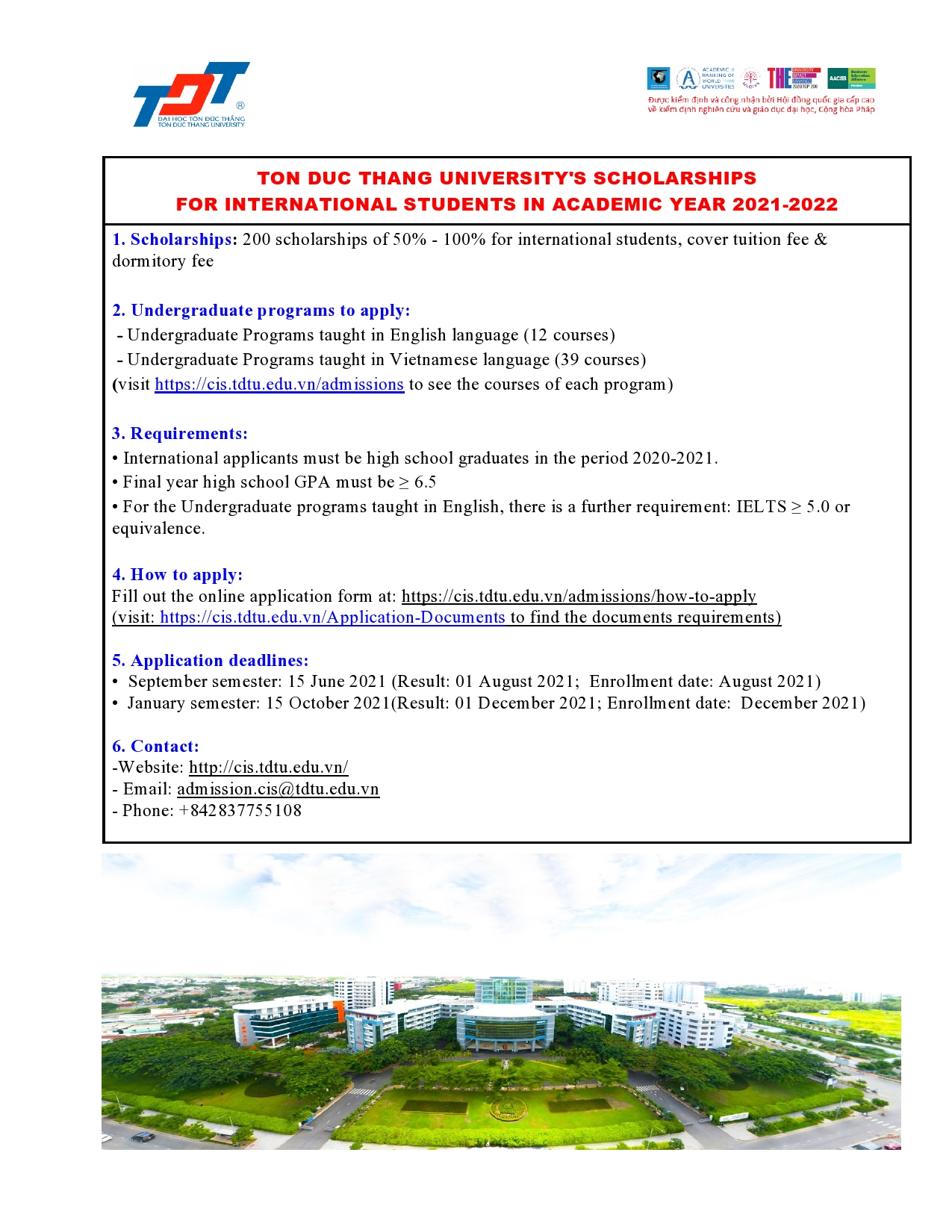 Ton Duc Thang University's scholarships information