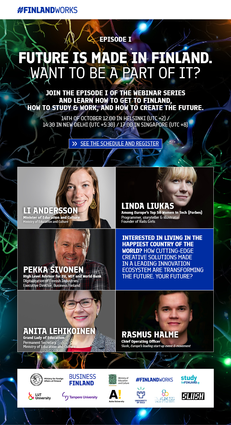 "Embassy of Finland: Webinar series ""Future is Made in Finland"", starting October 14"