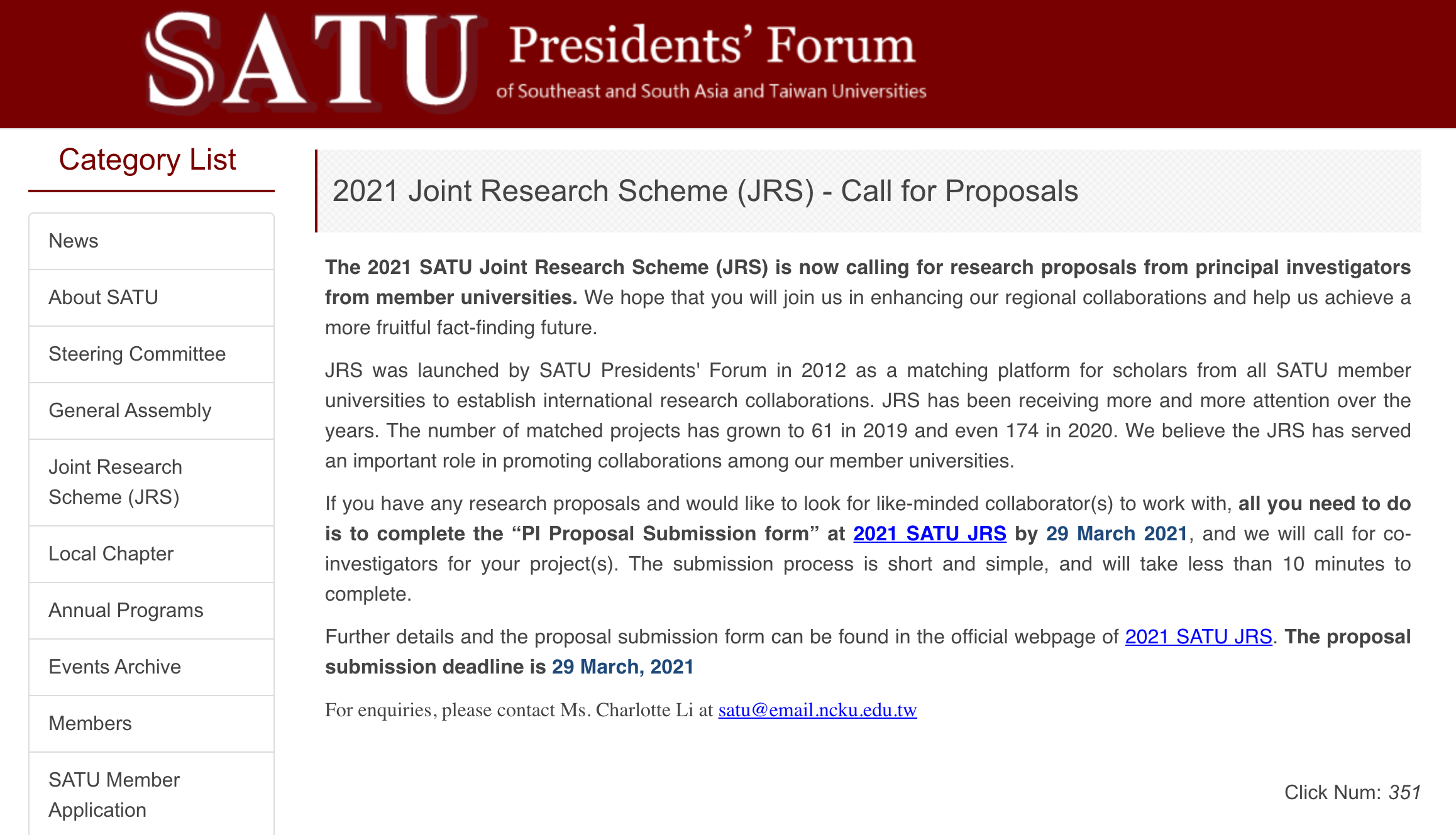 2021 Joint Research Scheme (JRS) – Call for Proposals