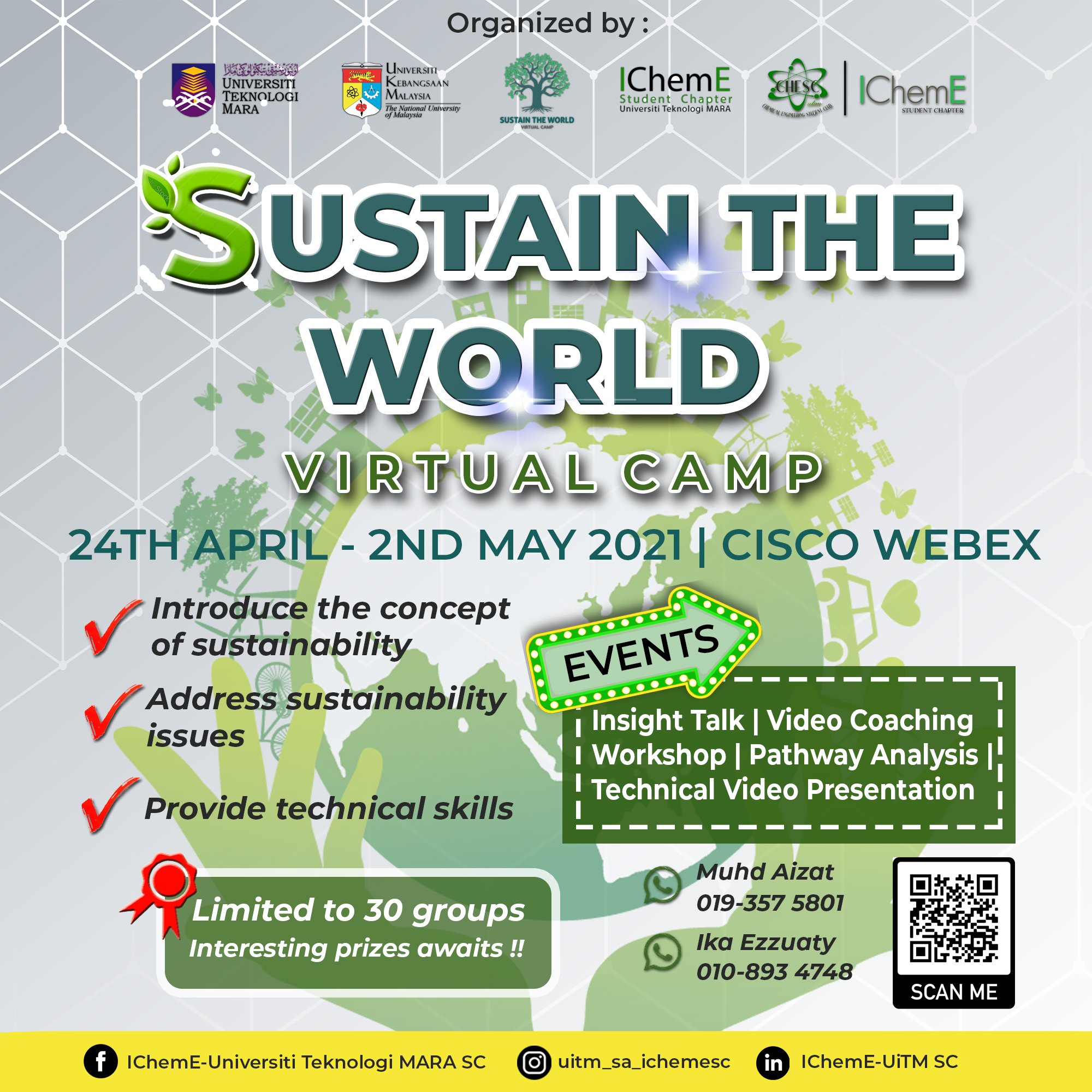 Invitation: Sustain the World! Virtual Camp (for university and pre-university students) 25thApril-2ndMay2021