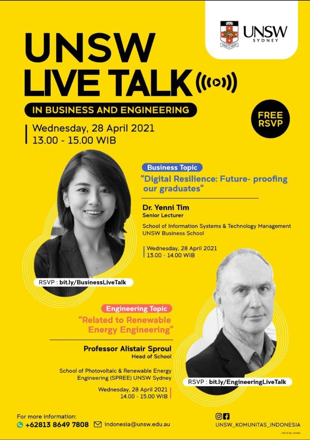 UNSW Live Talk in Business and Engineering (28 April 2021)