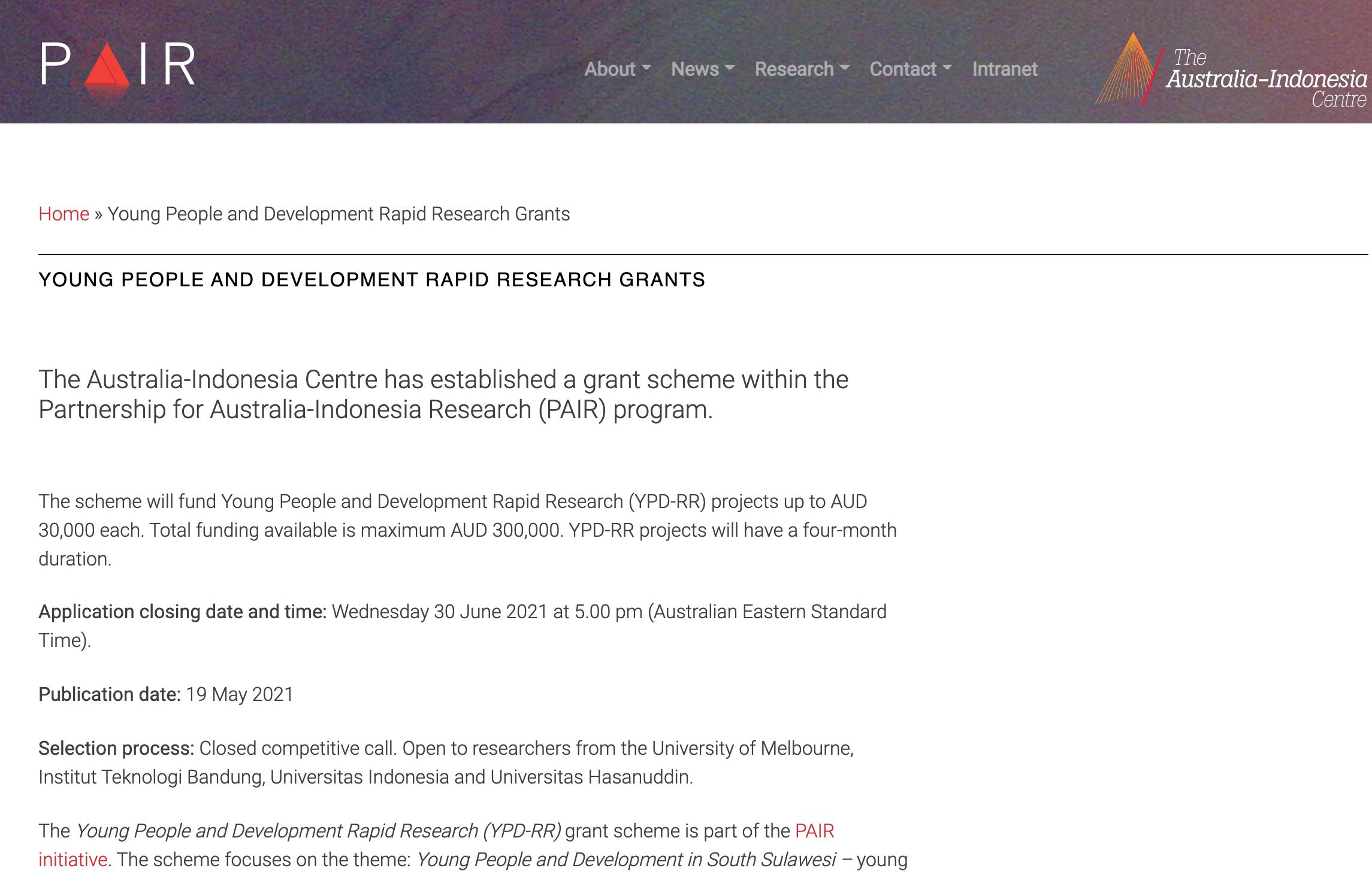 PAIR YPD-RR grant scheme