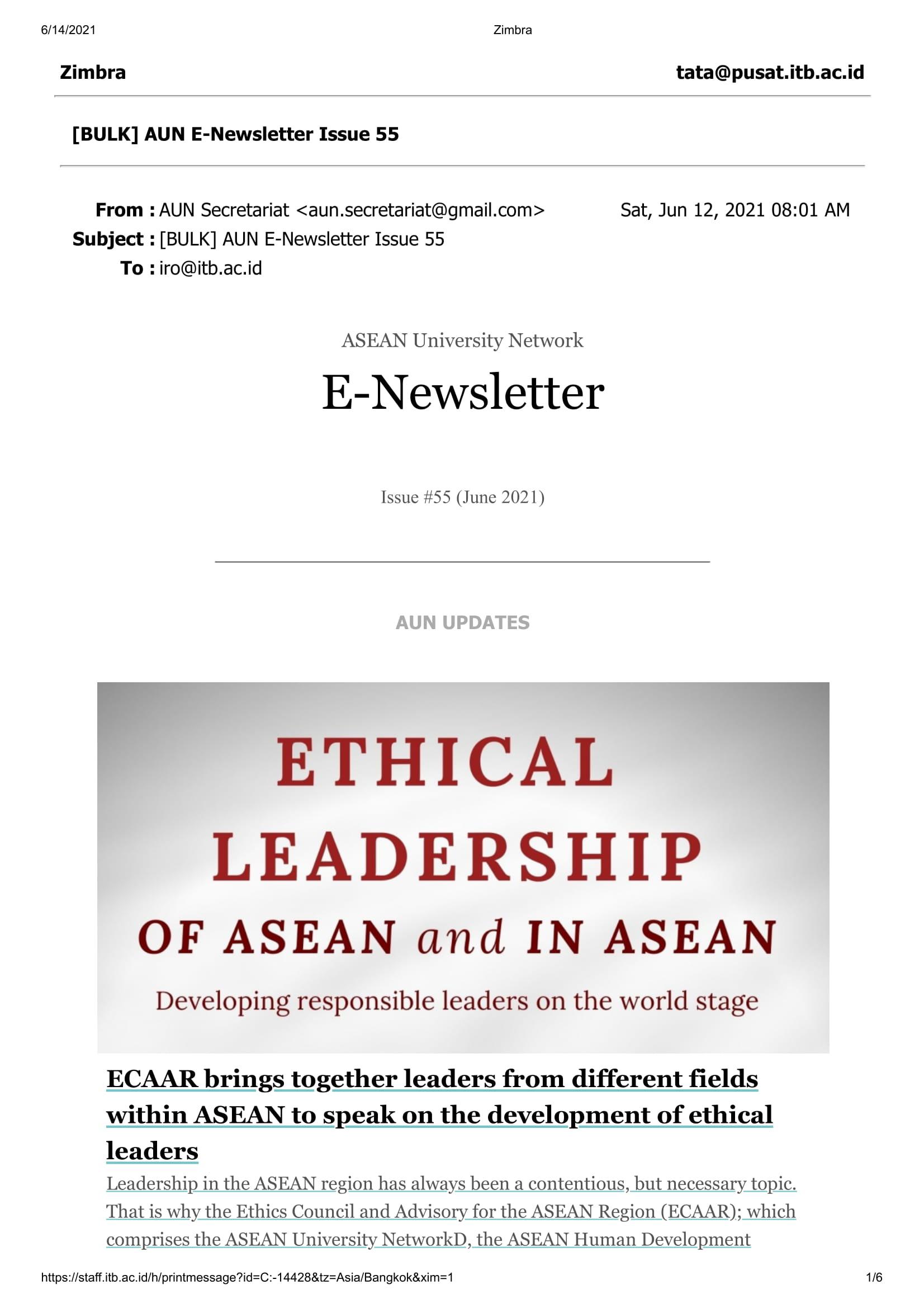 AUN E-Newsletter Issue 55