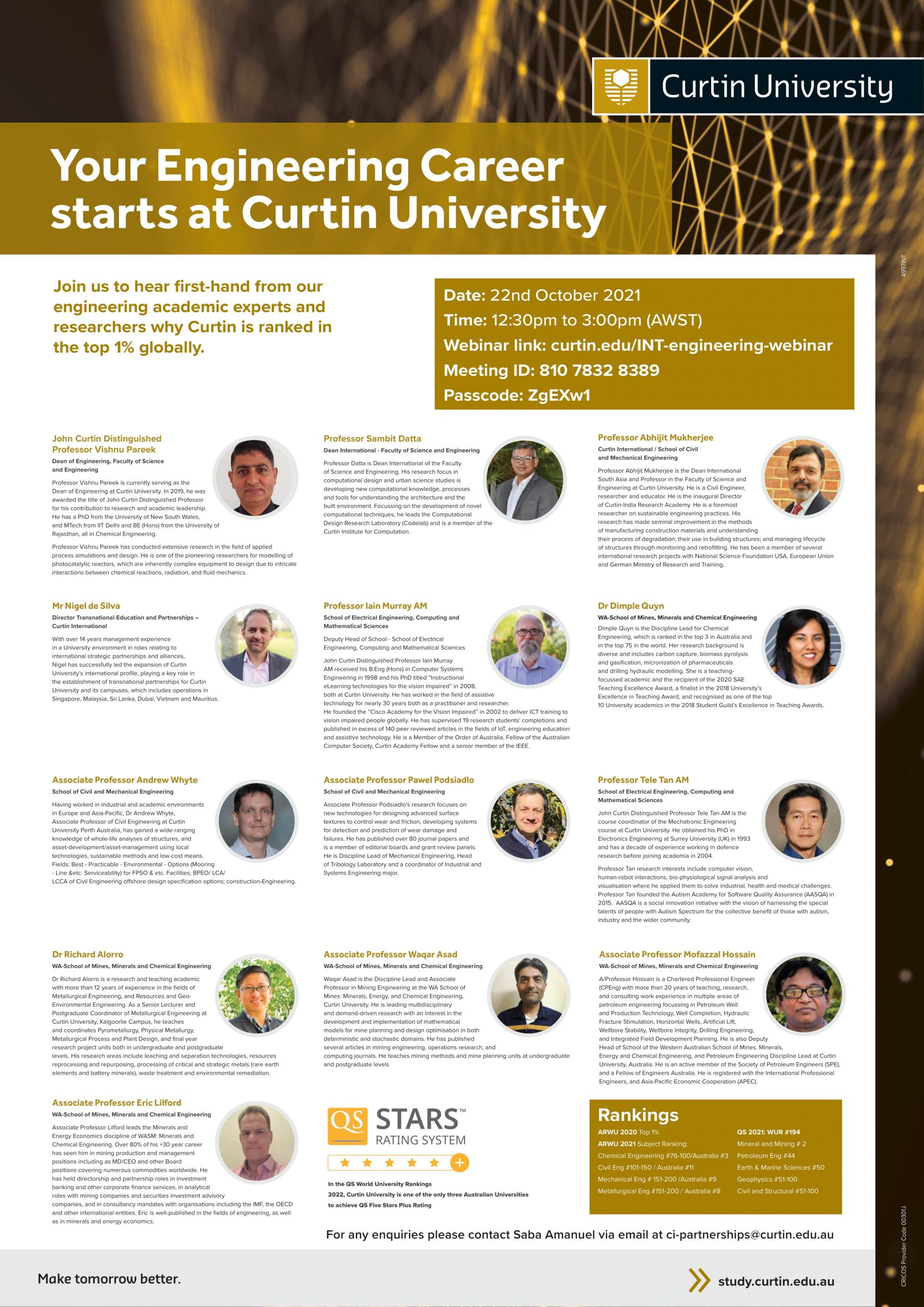 Curtin University Invitation for Engineering Webinar