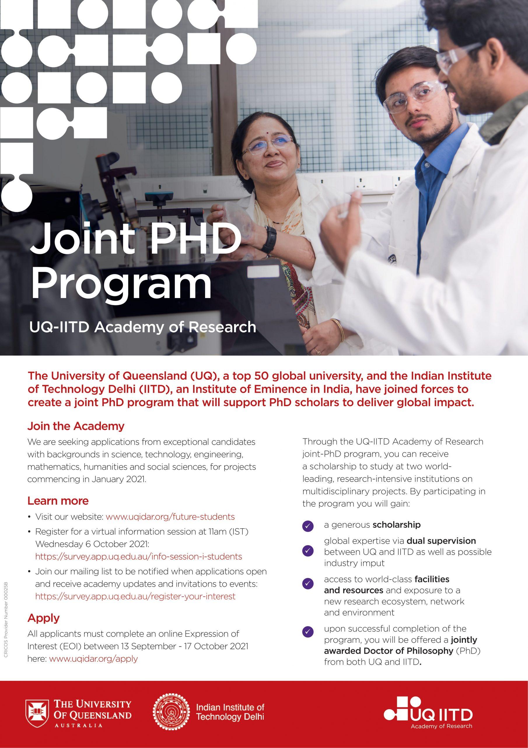 The University of Queensland – IIT Delhi Academy of Research (UQIDAR) joint PhD program : Inviting Applications