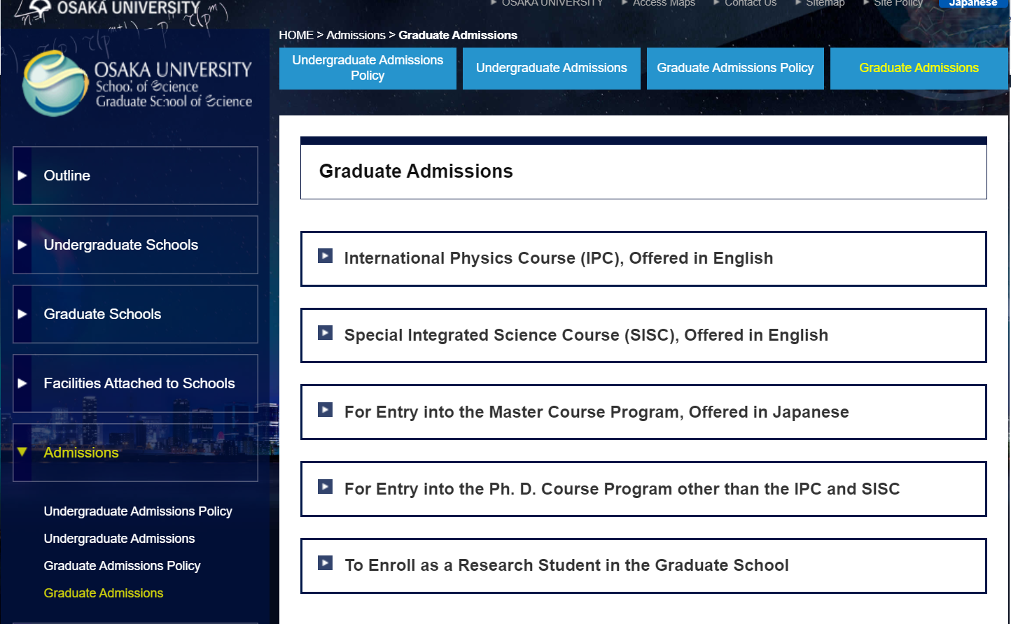 The Application Guidelines for the Master's/Ph.D.